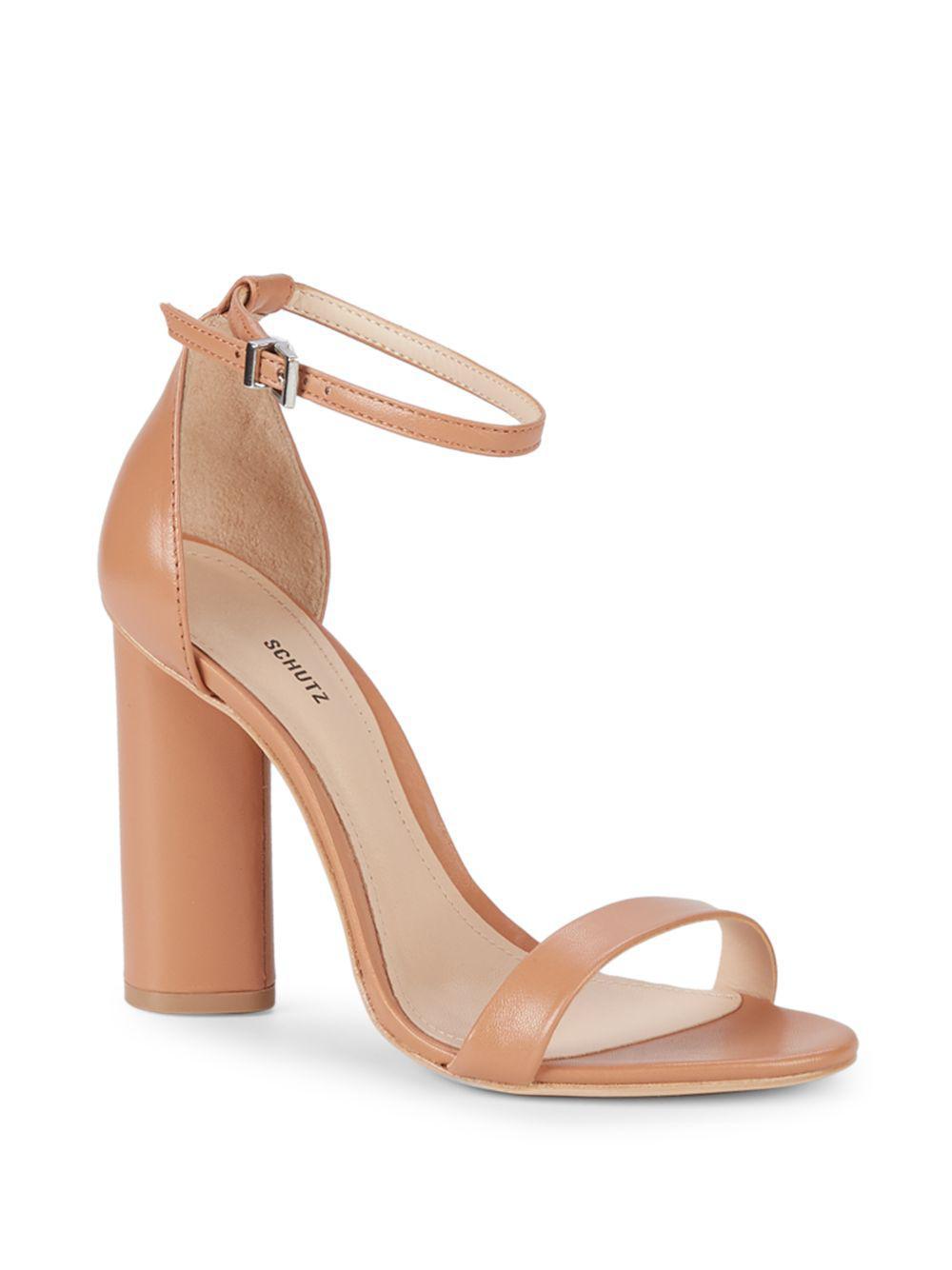 b167b0aae21dd8 Lyst - Schutz Block Heel Leather Ankle-strap Sandals