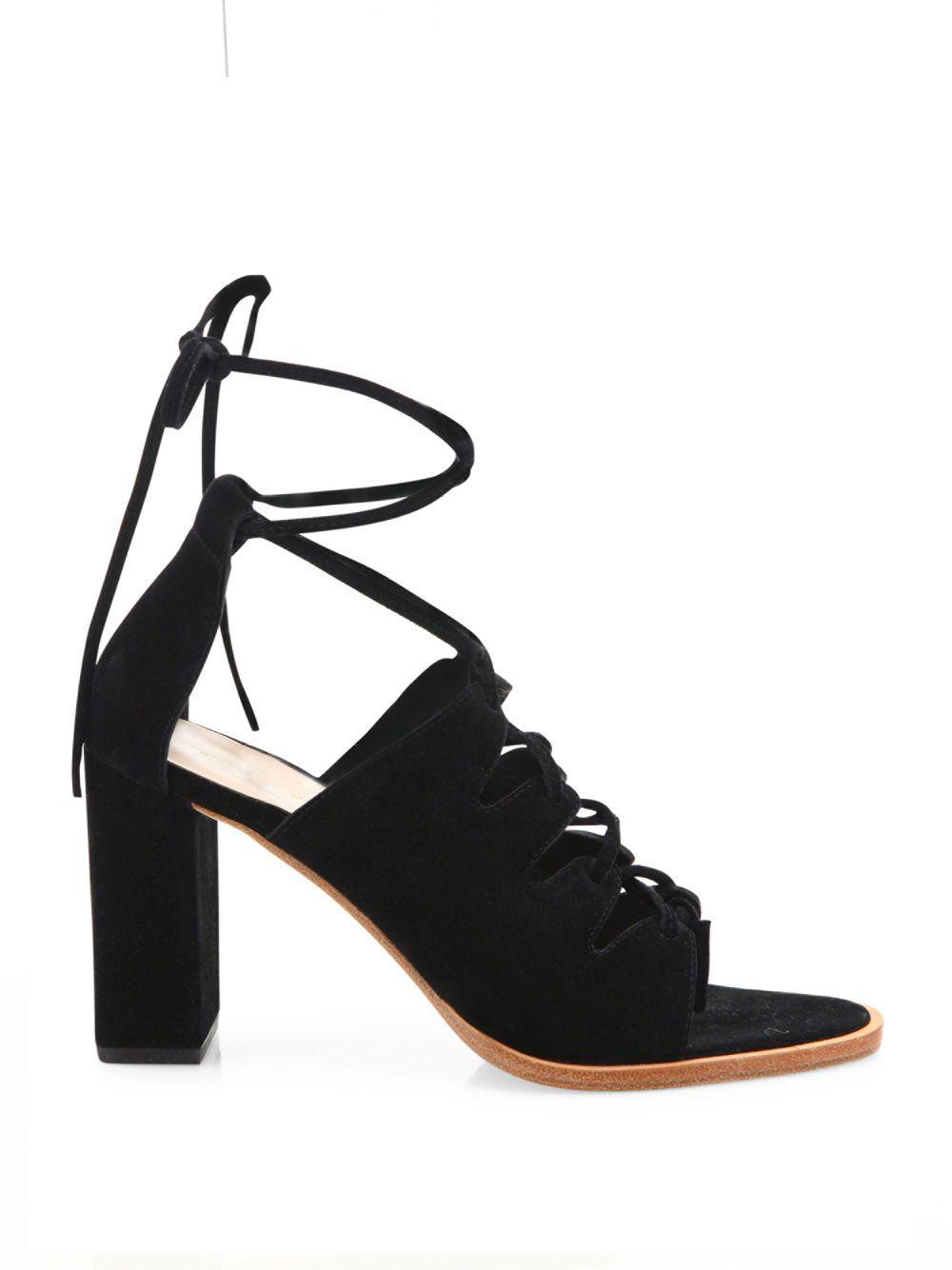 Loeffler Randall - Black Helene Lace-up Split Suede Sandals - Lyst. View  fullscreen