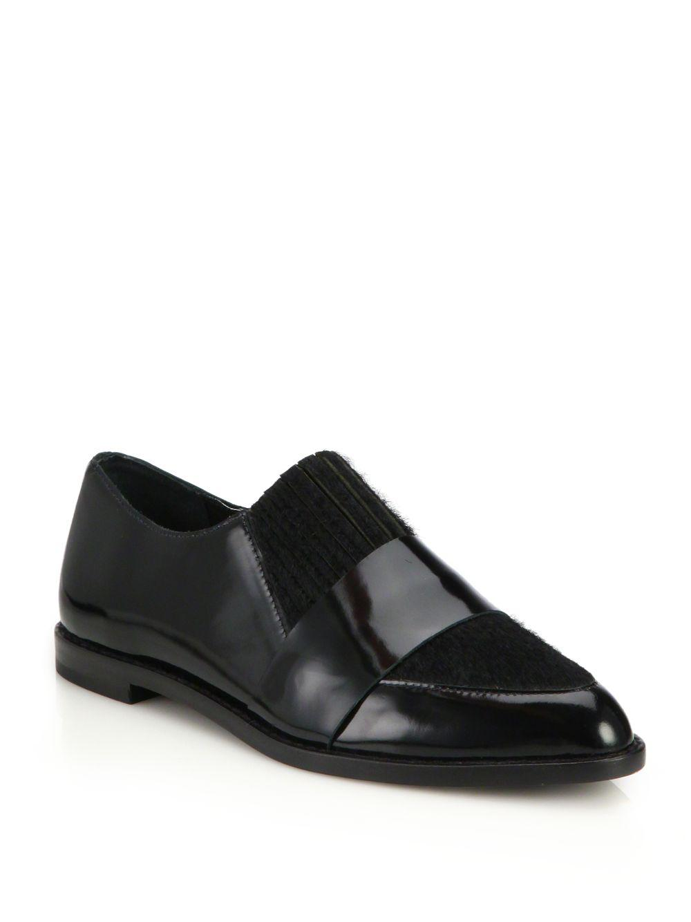 c3fa2422740 Lyst - Loeffler Randall Rosa Patent Leather   Calf Hair Loafers in Black
