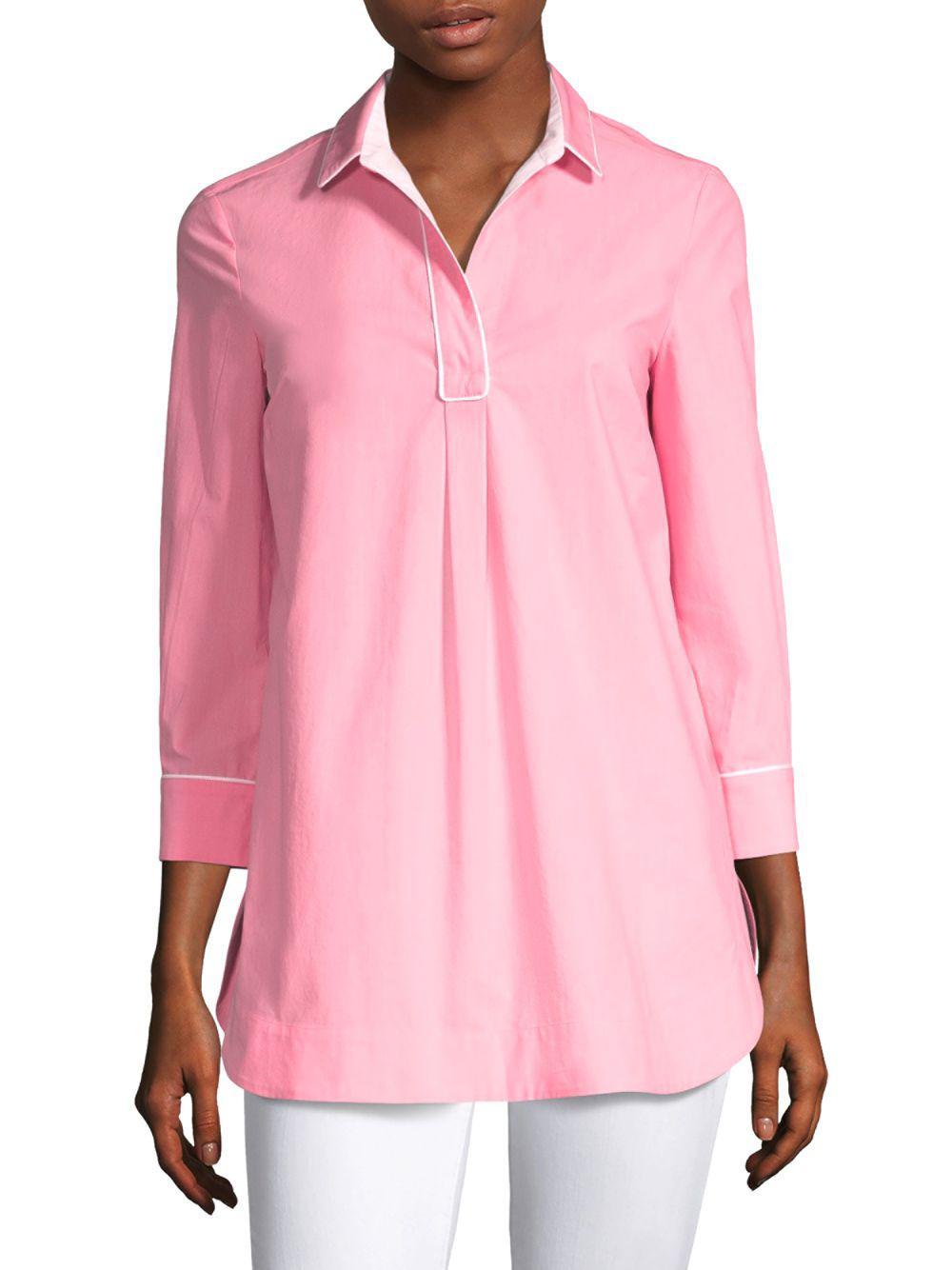 6910e2f6708 Piazza Sempione Eugenia Piping Tunic in Pink - Lyst