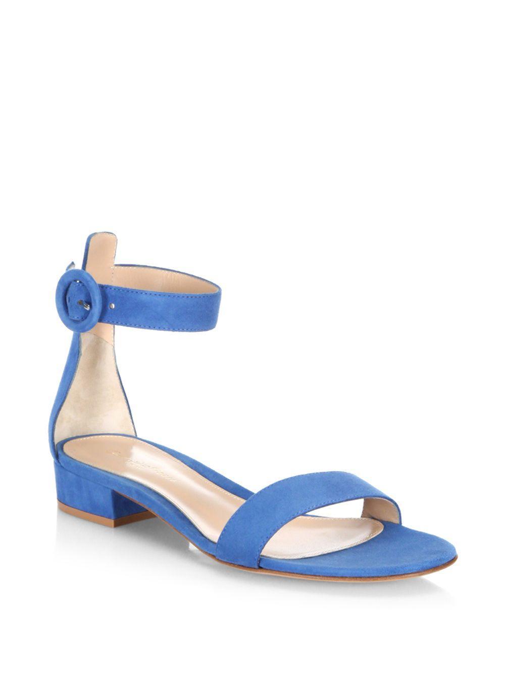 a52ea9aa3e4 Lyst - Gianvito Rossi Portofino Suede Ankle-strap Flat Sandals in Blue
