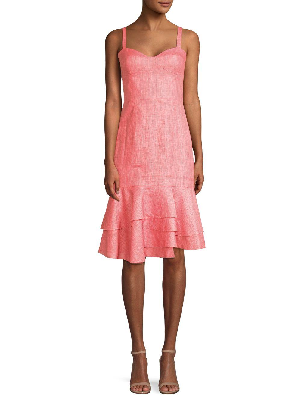 e7b99b4c5ca MILLY Kendal Linen Dress in Pink - Save 88% - Lyst