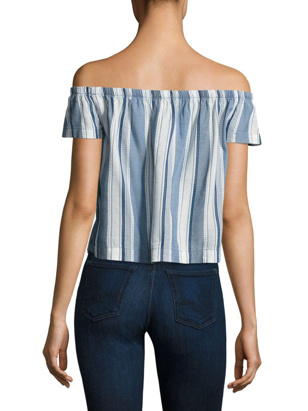 089342bc9b9f87 Lyst - Cinq À Sept Striped Off-the-shoulder Top in Blue - Save 54%