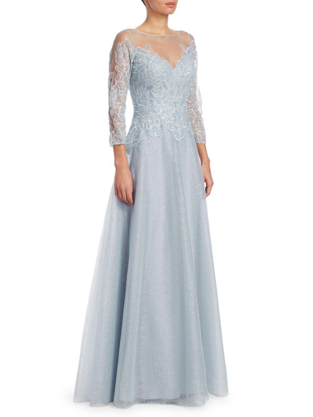3ac006d953bf Lyst - Teri Jon Metallic Illusion Ball Gown in Blue - Save 31%