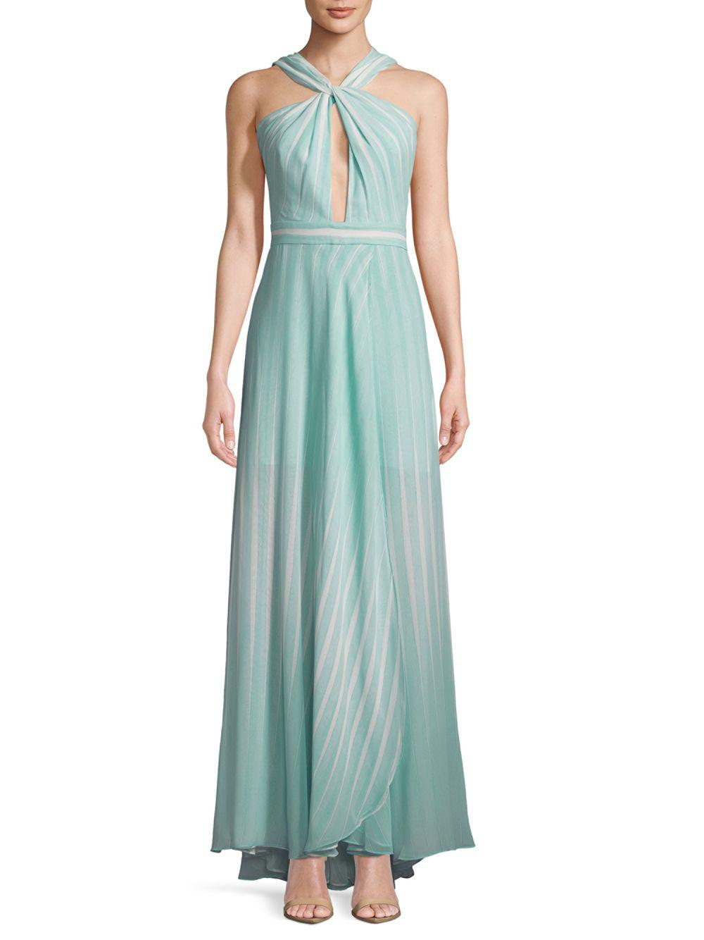 Lyst - Halston Heritage Striped Twist-front Floor-length Gown in Green