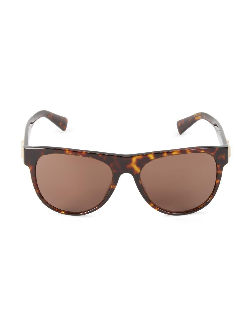 f2d50a825555 Lyst - Versace 57mm Tortoiseshell Rounded Sunglasses in Brown