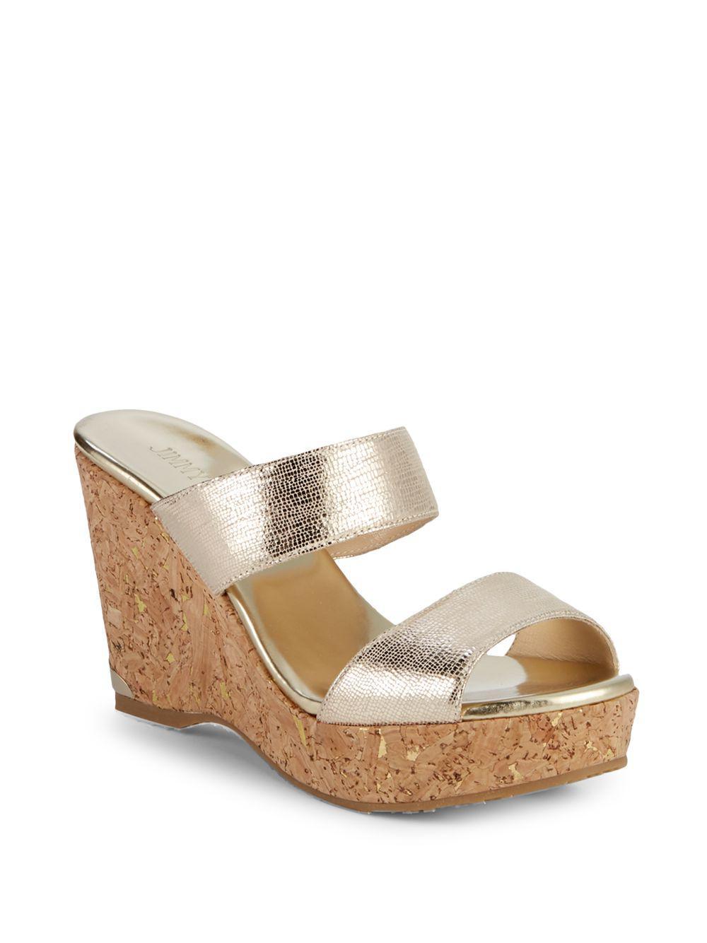 86ddffea5904 Jimmy Choo. Women s Parker 100 Metallic Leather Cork Wedge Sandals