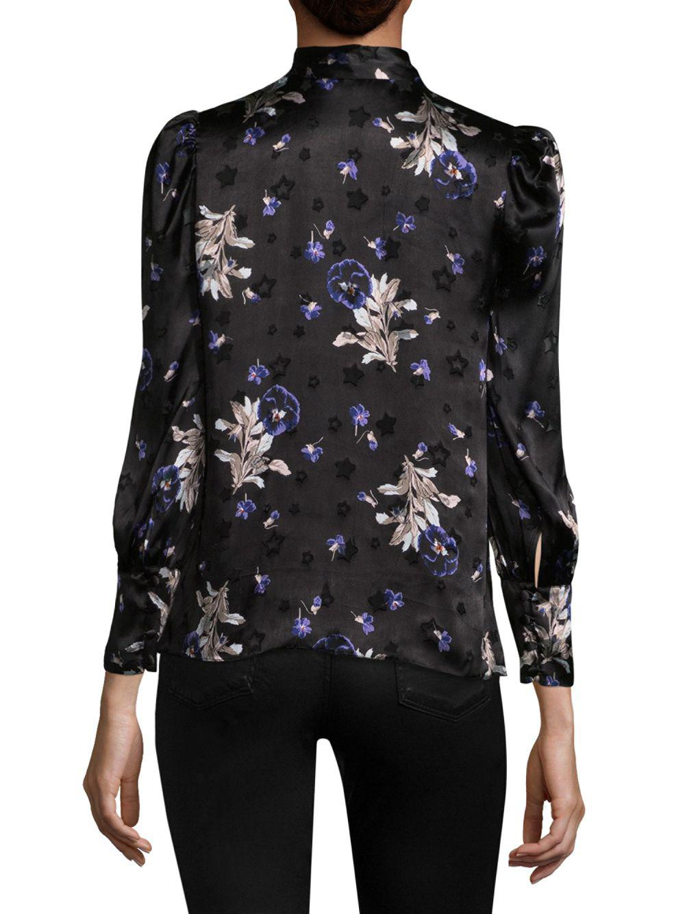 763f732ea3be7 Rebecca Taylor - Black Floral Star Silk Top - Lyst. View fullscreen