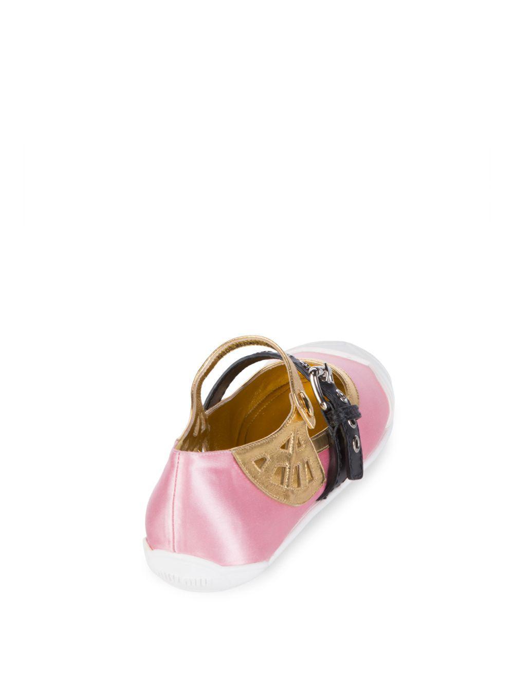 88f330e239d05 Miu Miu Buckle Ballet Flats in Pink - Save 25% - Lyst