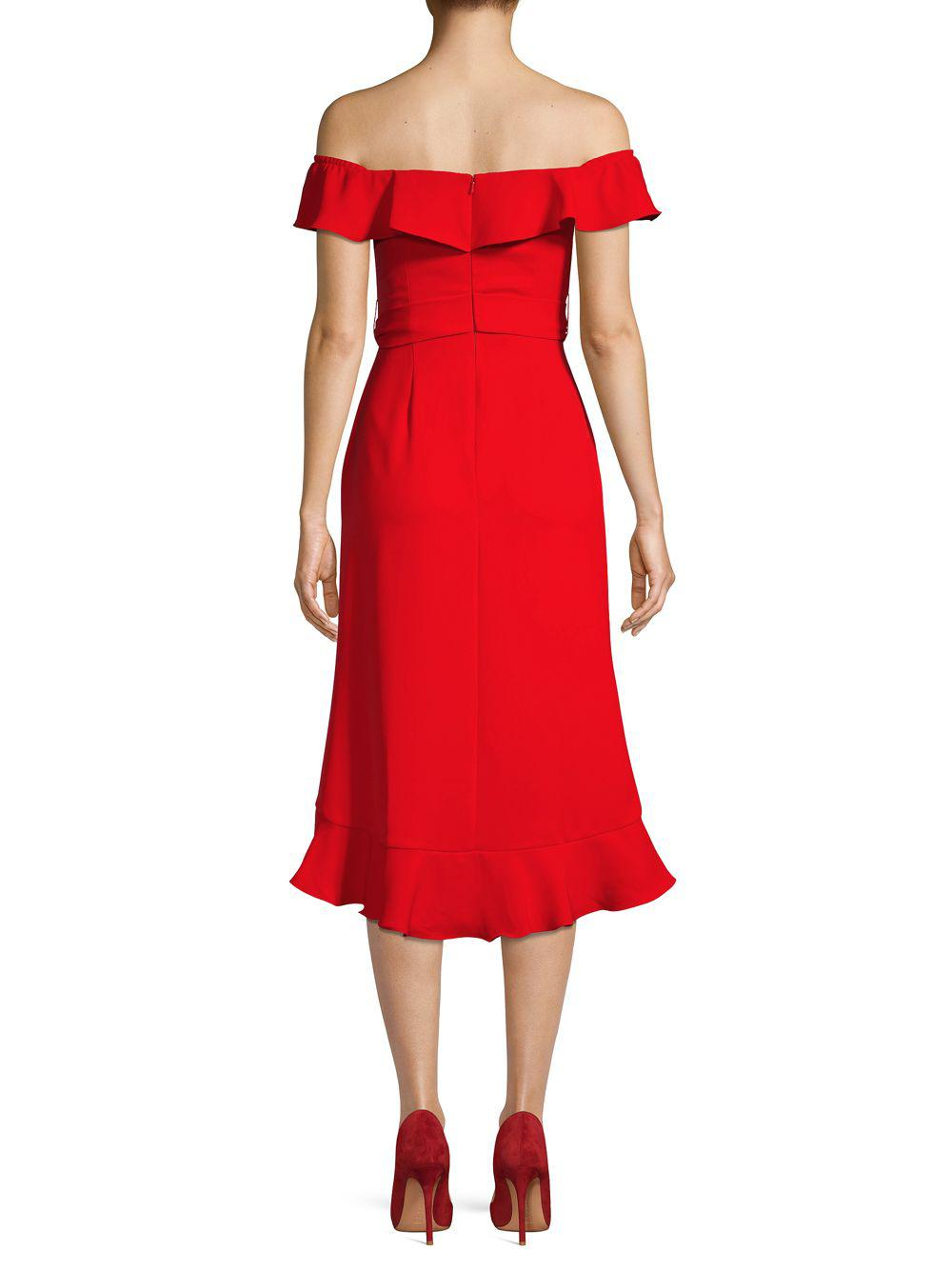 937376cf76056 Jay Godfrey - Red Off-the-shoulder Ruffled A-line Cocktail Dress -. View  fullscreen