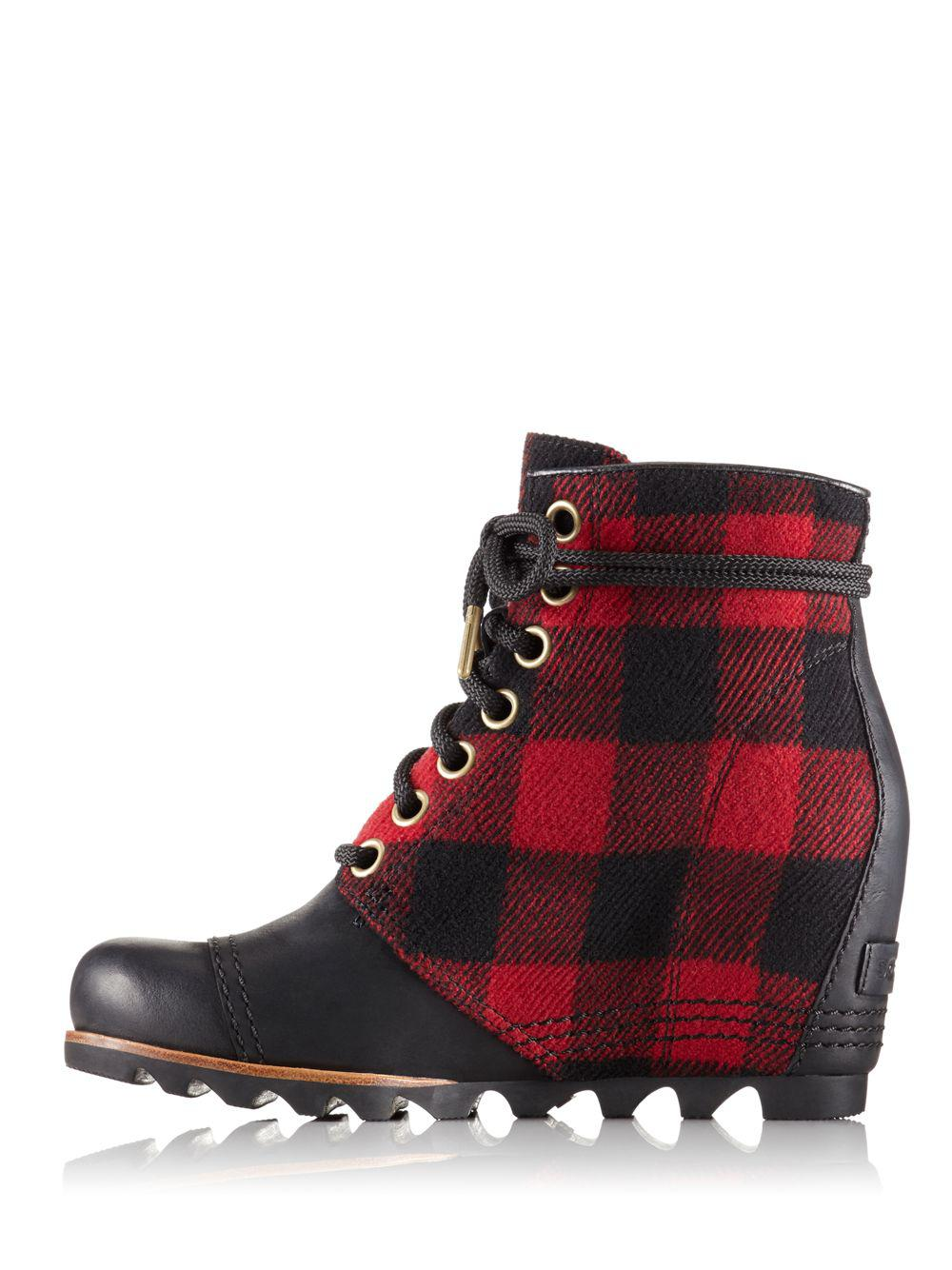 Sorel Pdx Plaid And Leather Wedge Booties In Black Lyst