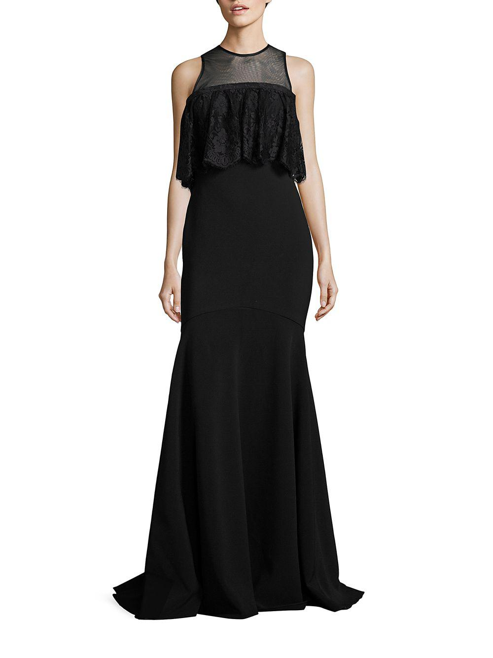 Lyst - Theia Ruffled Lace Trumpet Gown in Black - Save ...