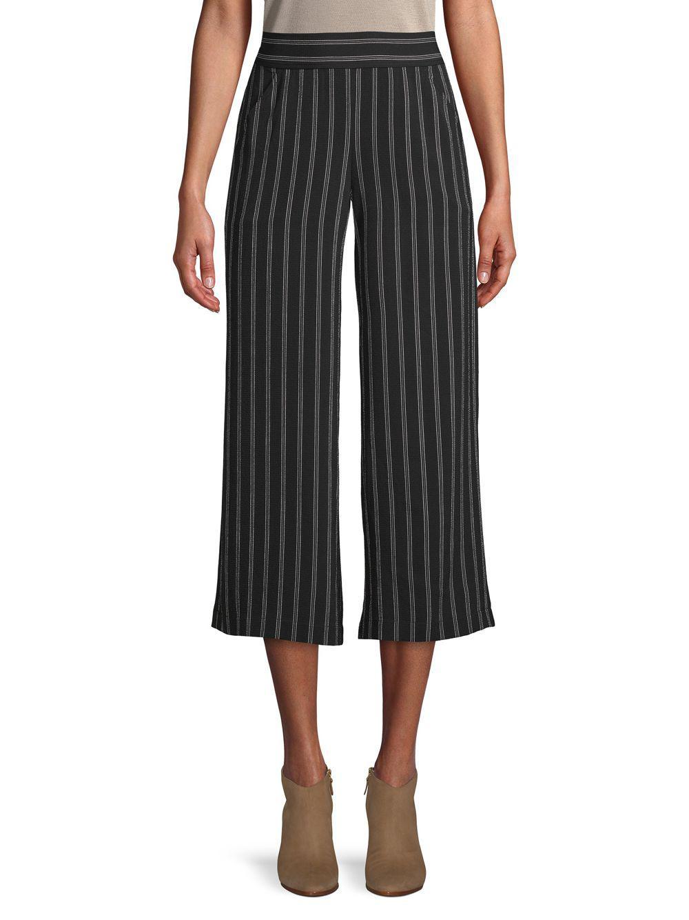 bb2d396f86ff2 Lyst - Max Studio Striped Wide-leg Cropped Pants in Black - Save 54%