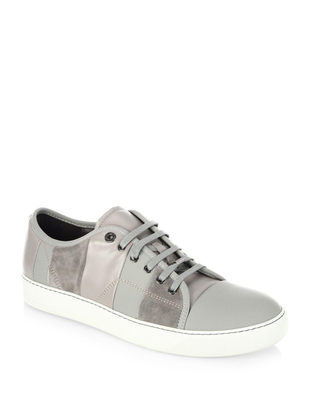 Lanvin. Men's Gray Multi-striped Leather Low-top Sneakers