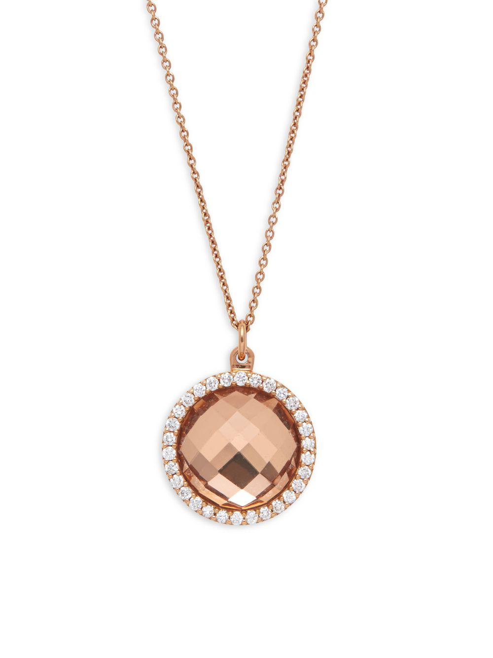 Roberto Coin 18k Rose Gold Crystal & Diamond Pendant Necklace