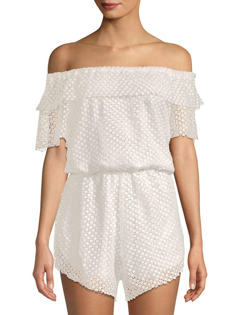 9bd17d4da57 Lyst - Haute Rogue Lace Off-the-shoulder Romper in White - Save 70%