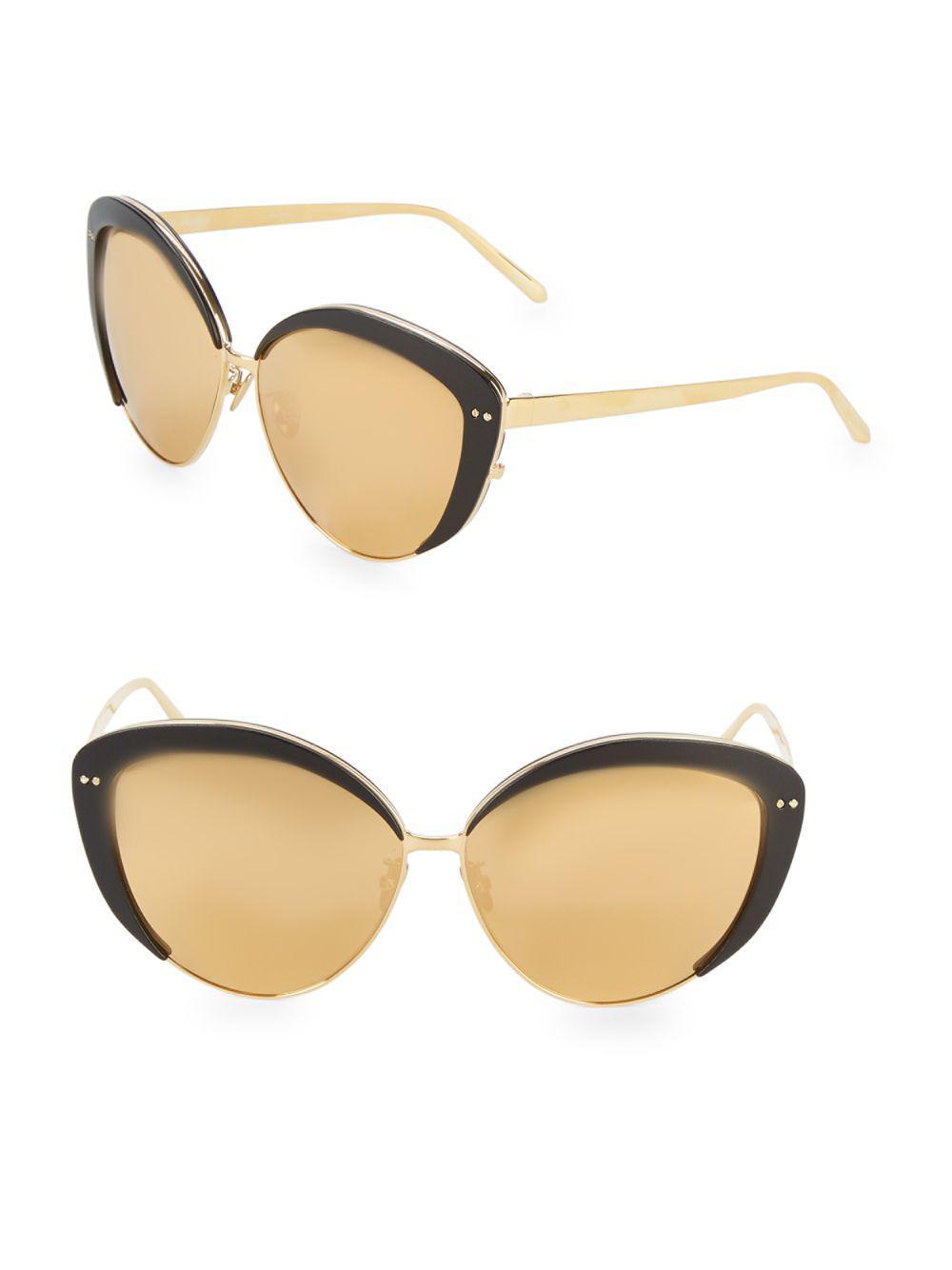 31fde03cf3da Linda Farrow Contrast Trim 62mm Cat Eye Sunglasses - Lyst