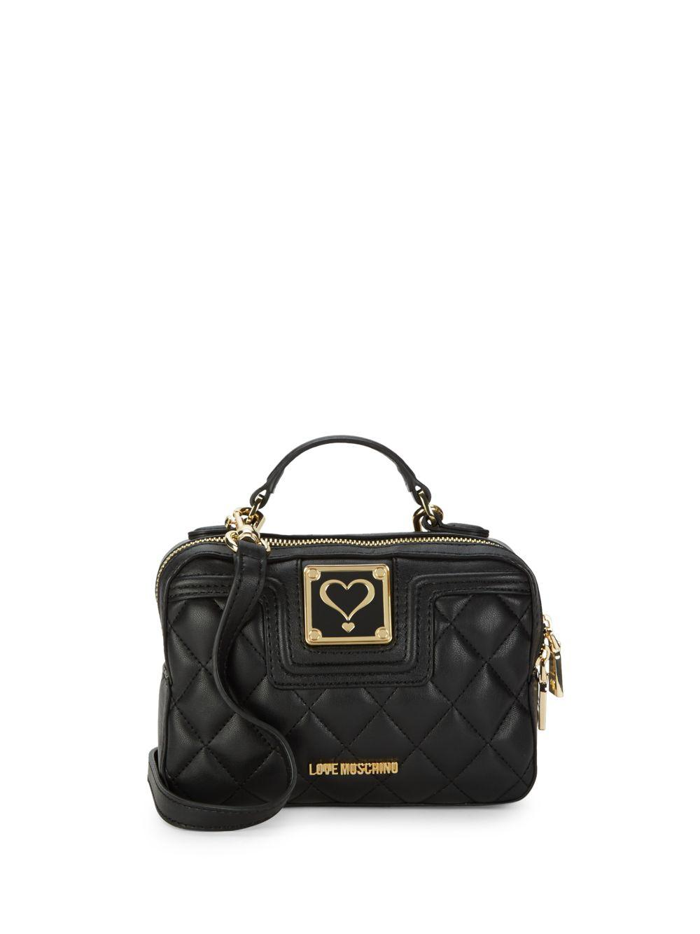 47259083c69 Love Moschino Quilted Mini Top Handle Bag in Black - Lyst