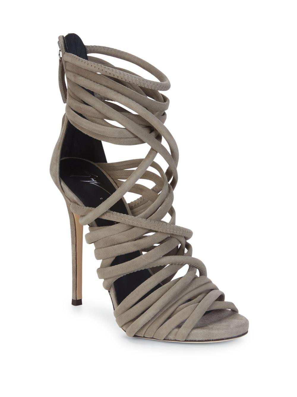 b65e055d3ae8 Lyst - Giuseppe Zanotti Alien Leather Strappy Sandals in Gray - Save 45%