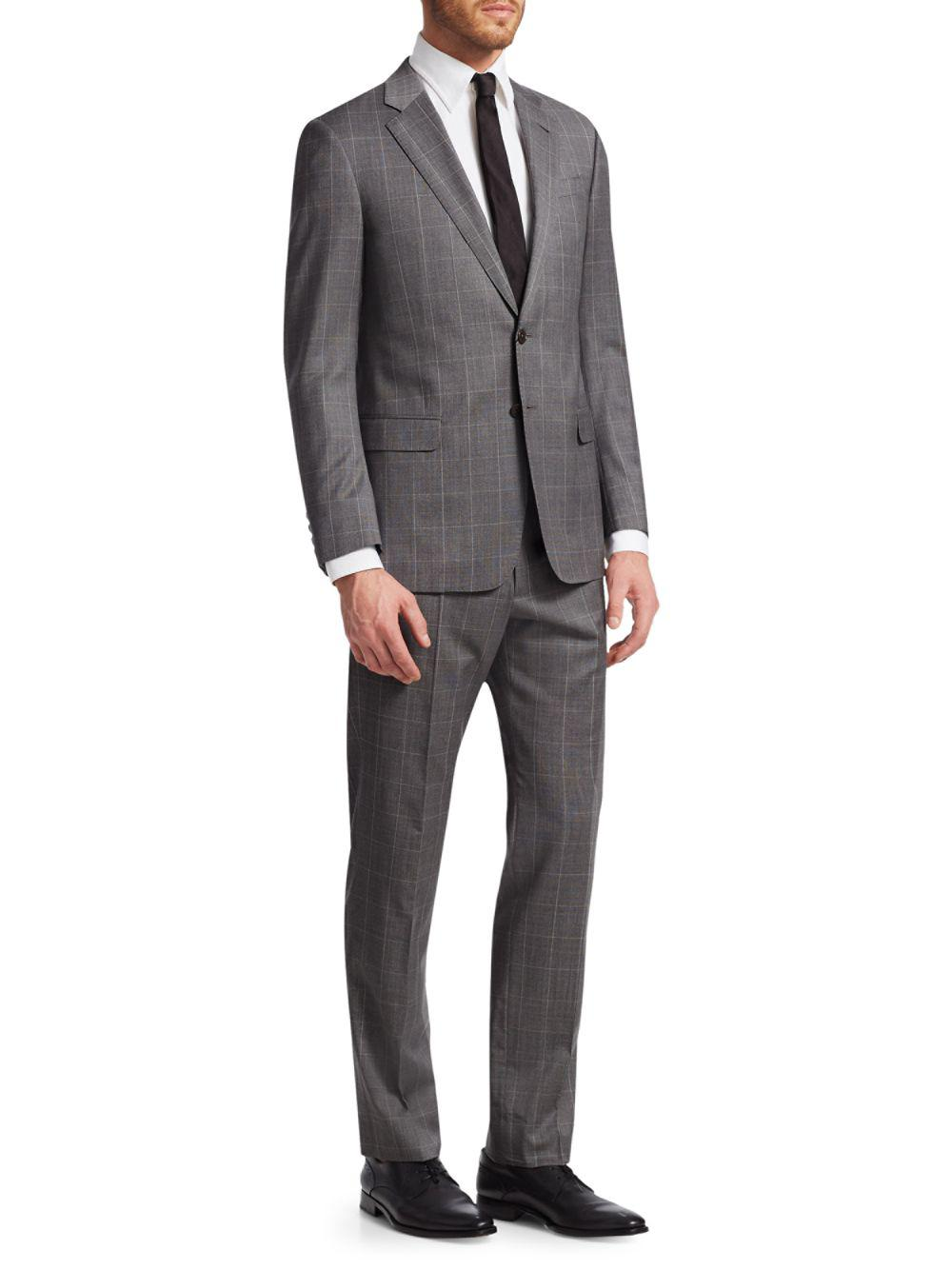 7d8140c5c2f Lyst - Giorgio Armani Modern Fit Windowpane Wool Suit in Gray for ...