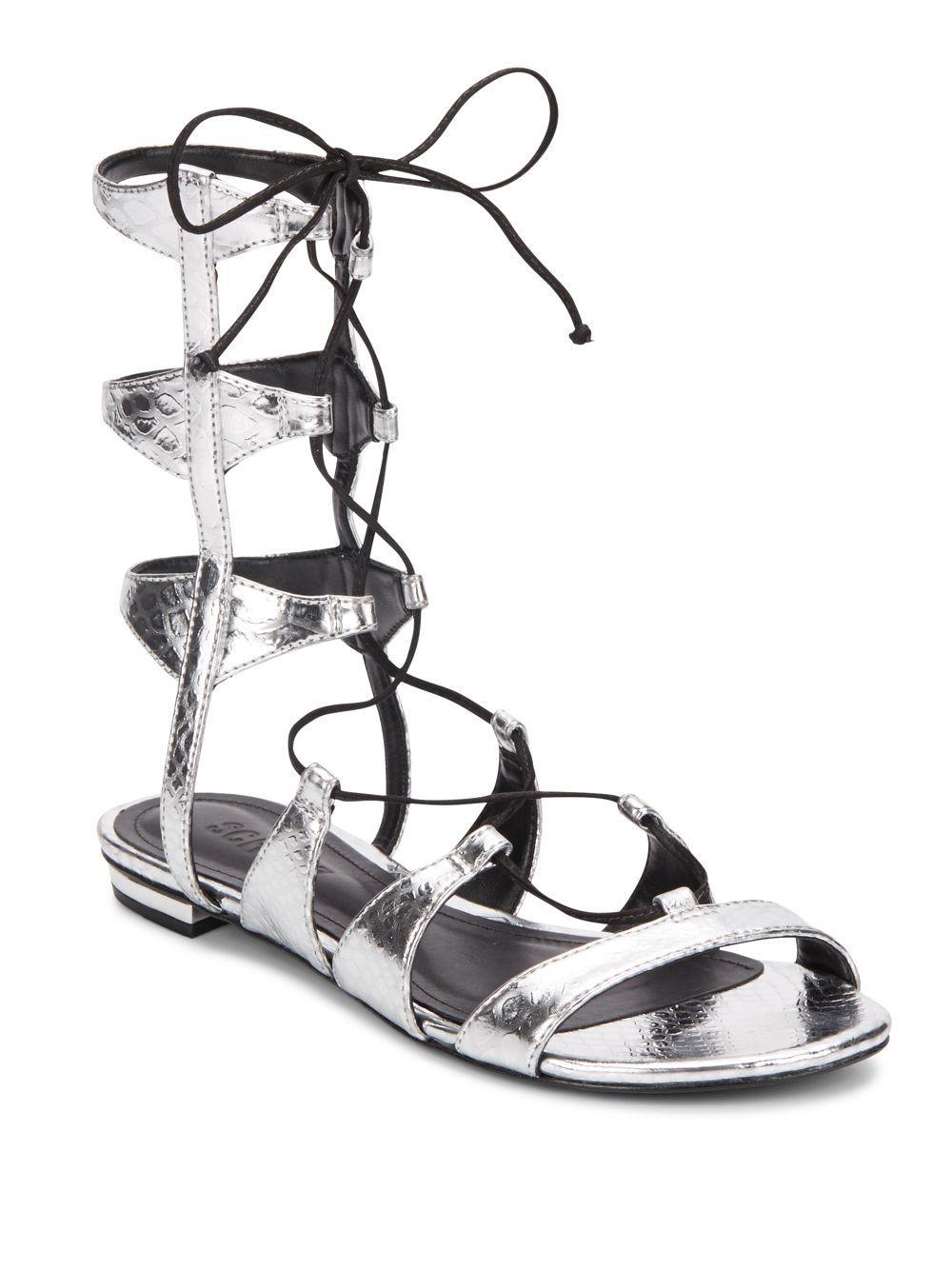 3f82cc4e0be6 Lyst - Schutz Erlina Metallic Gladiator Sandals in Black