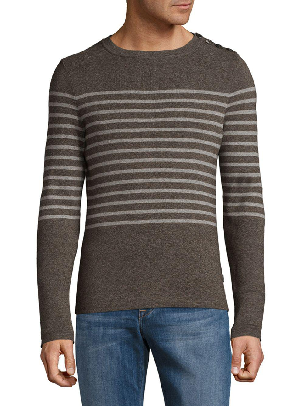 Boss Striped Cotton Sweater in Brown for Men | Lyst