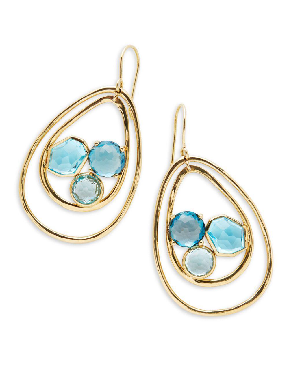 Ippolita 18K Rock Candy Tipped Oval Wire Earrings in London Blue Topaz ghTaf5U