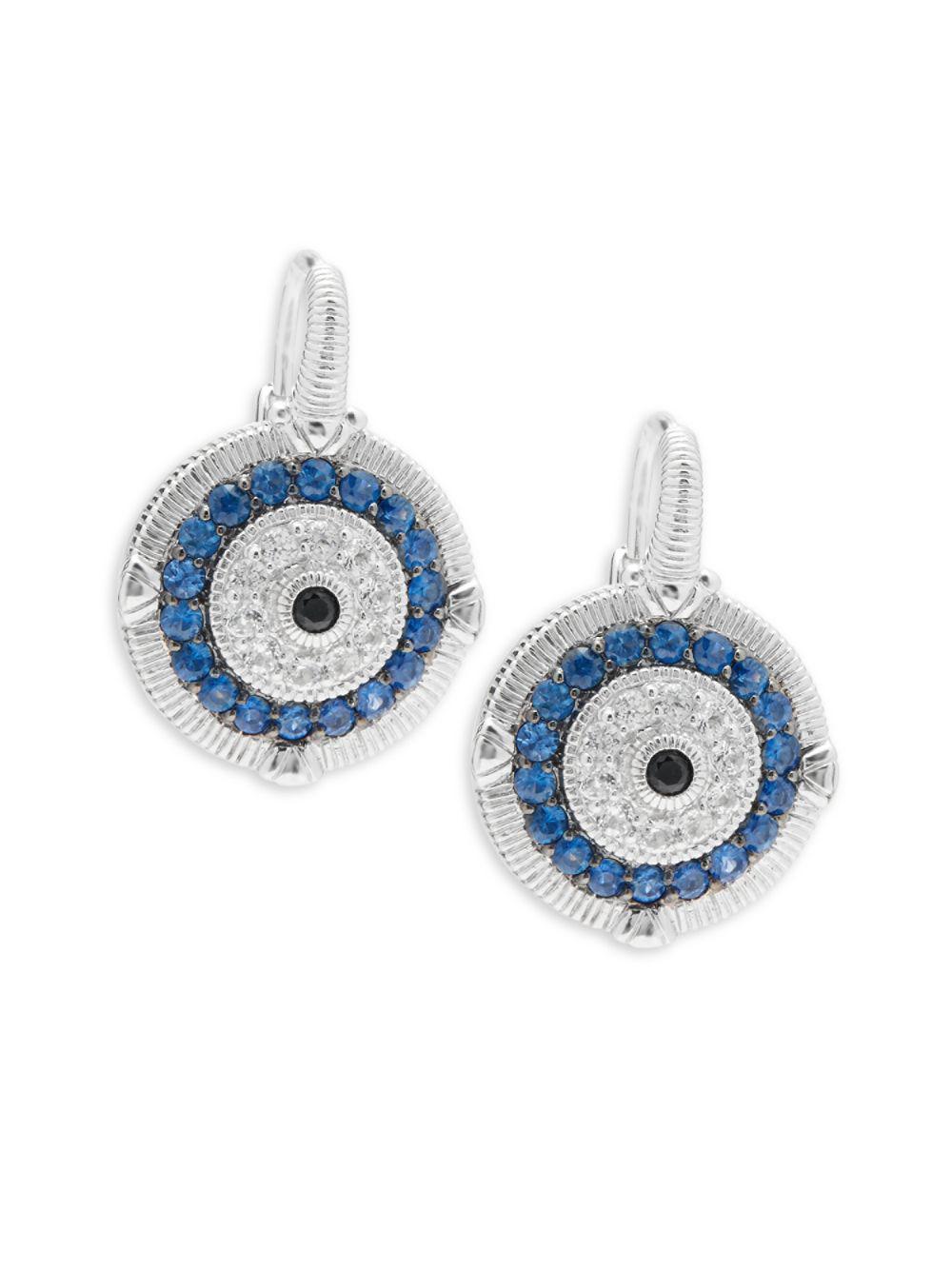 7250f8ce6 Judith Ripka Lucky Sapphire Evil Eye Earrings in Metallic - Lyst