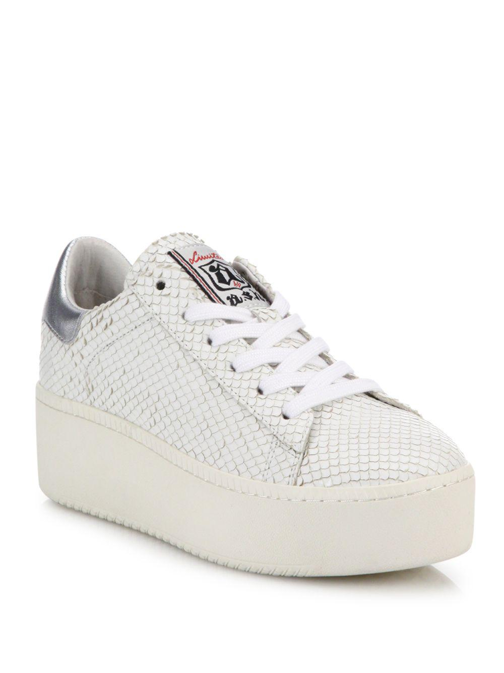 Ash. Women's White Cult Snake-embossed Leather Platform Trainers