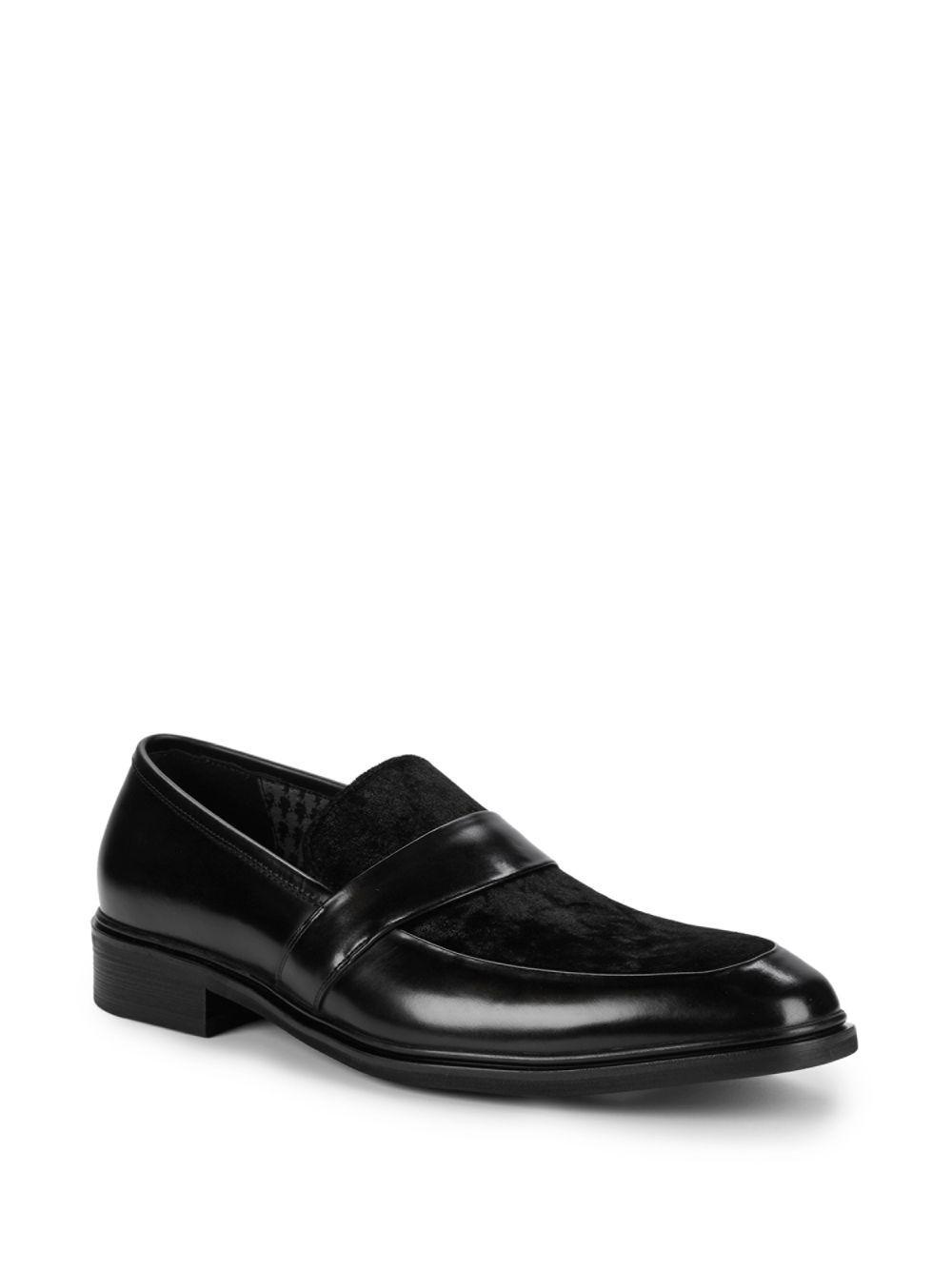 228437606c2 Lyst - Karl Lagerfeld Leather   Velvet Loafers in Black for Men