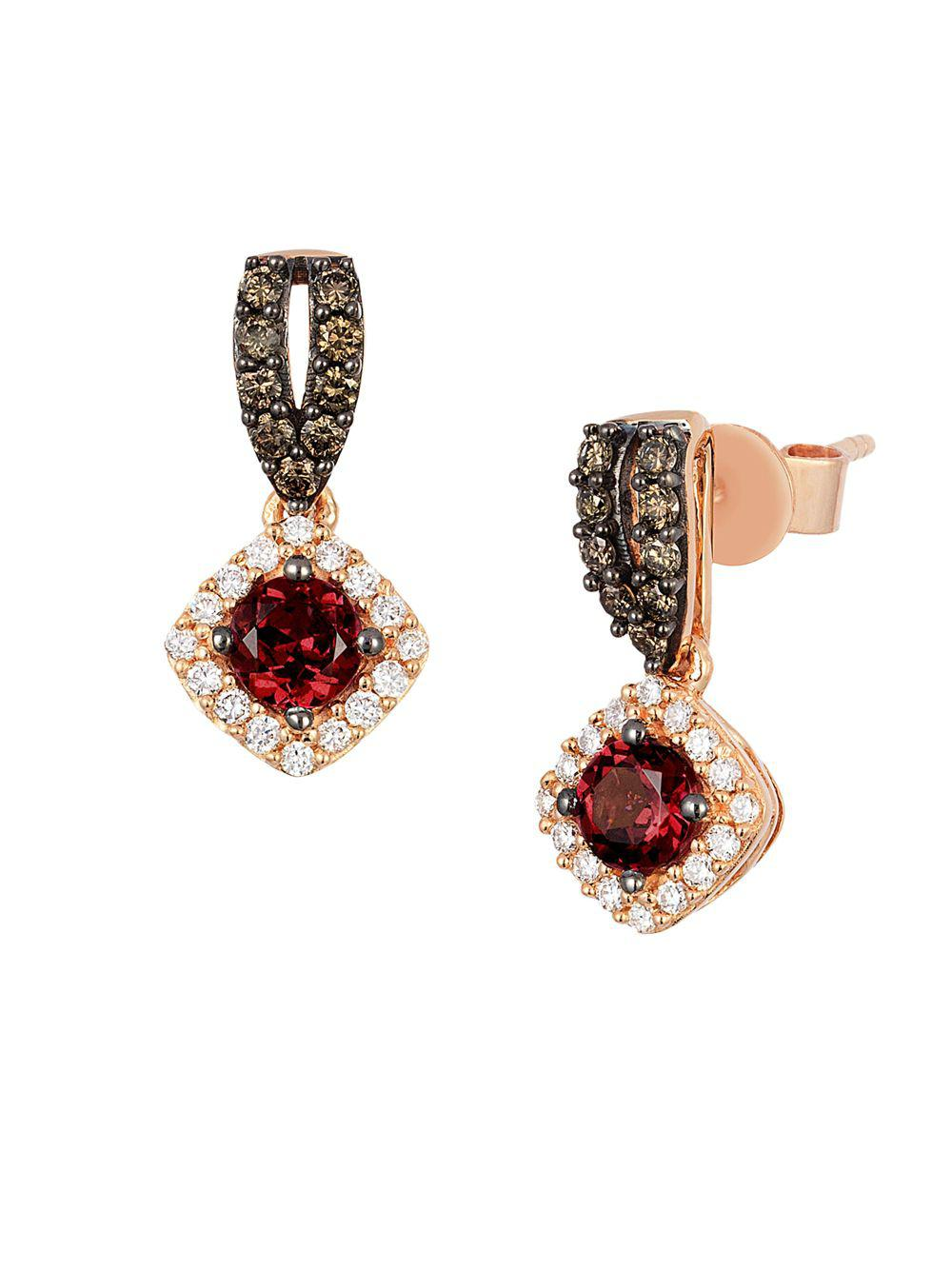 fff34b0f5 Le Vian. Women's Metallic 14k Strawberry Gold Raspberry Rhodolite Vanilla  Diamonds & Chocolate Diamonds Square Drop Earrings