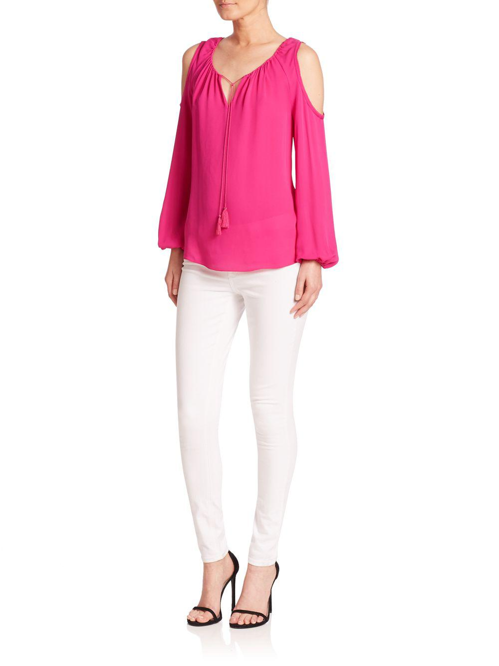 b3c3c5f5efe9f8 Lyst - Elie Tahari Cathy Silk Cold-shoulder Blouse in Pink