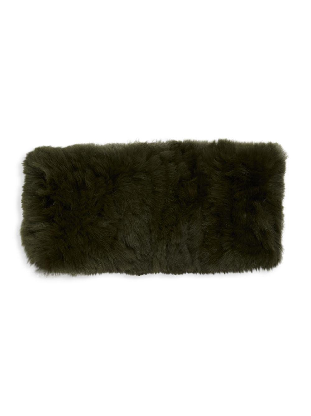 94603850989 Lyst - Saks Fifth Avenue Knitted Rabbit Fur Headband in Green
