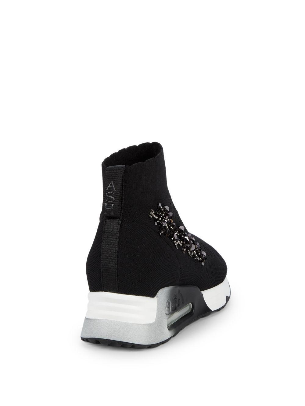 e124985e86d50 Ash - Black Embellished Sock Sneakers - Lyst. View fullscreen