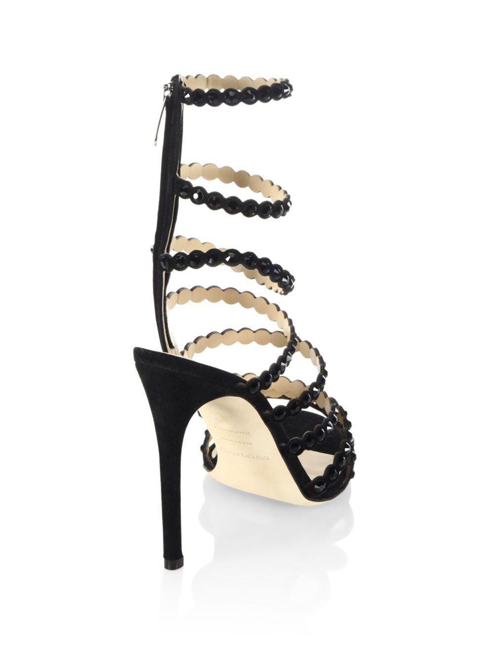 4ad72fc2c17a Lyst - Sergio Rossi Kim Crystal Gladiator Sandals 105mm in Black