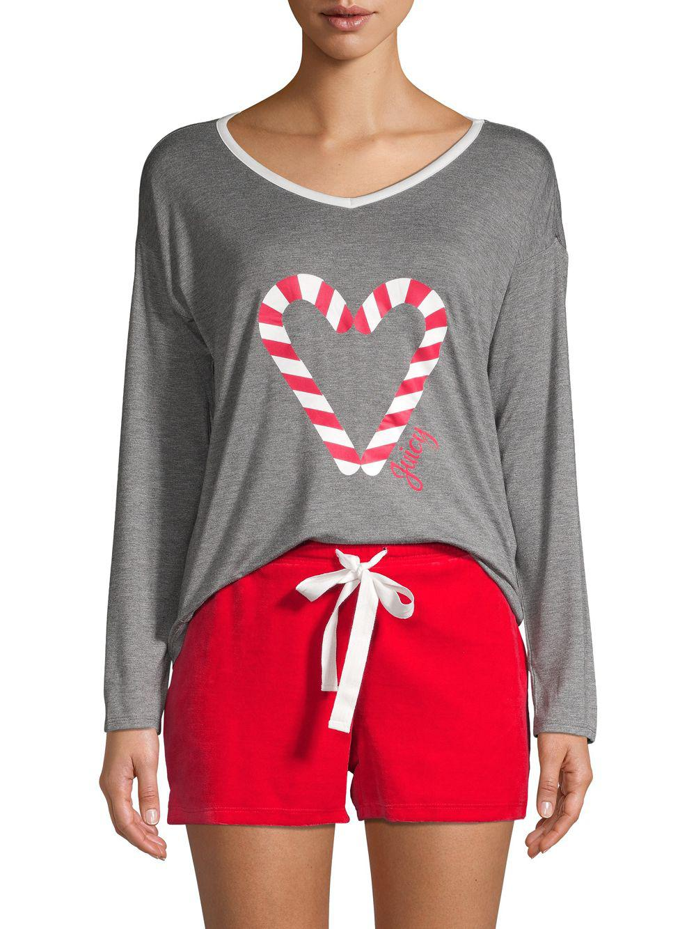 Juicy Couture Two-piece Graphic Pajama Set in Gray - Lyst c0b084705