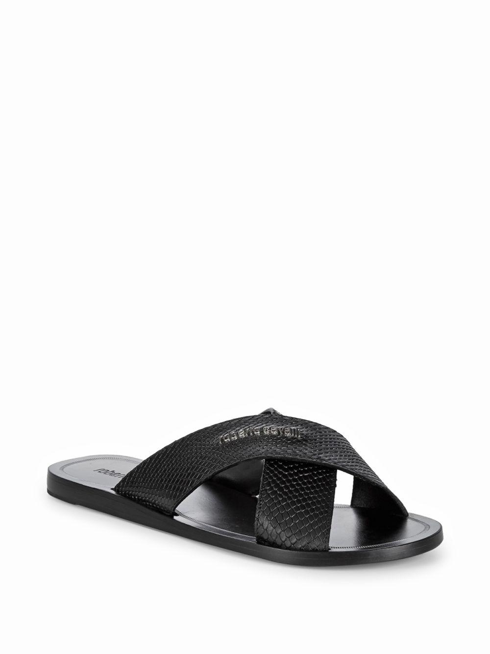 65a43f20fcd7 Roberto Cavalli Cross Band Leather Sandals in Black for Men - Save ...