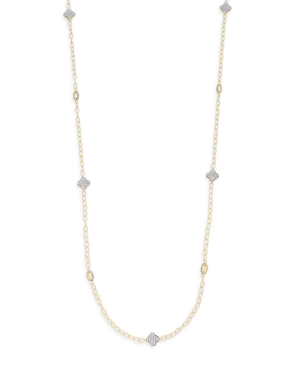 Freida Rothman Pave Crystal Clover Fringe Necklace hyDSmLiGp