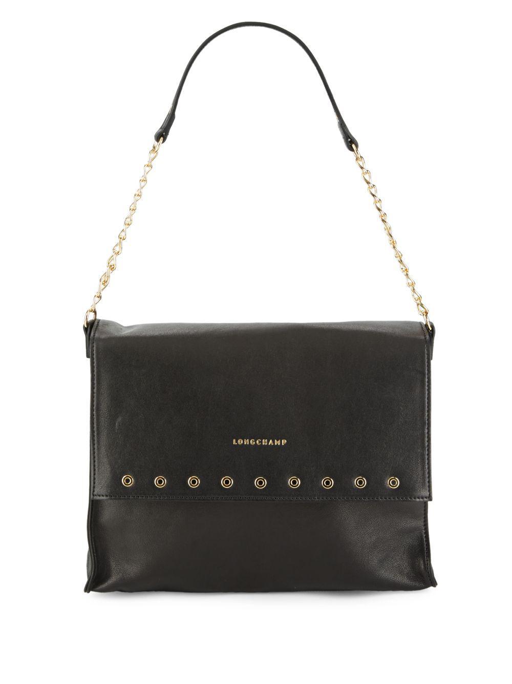Lyst - Longchamp Paris Rocks Leather Shoulder Bag in Black d33820c3029a6