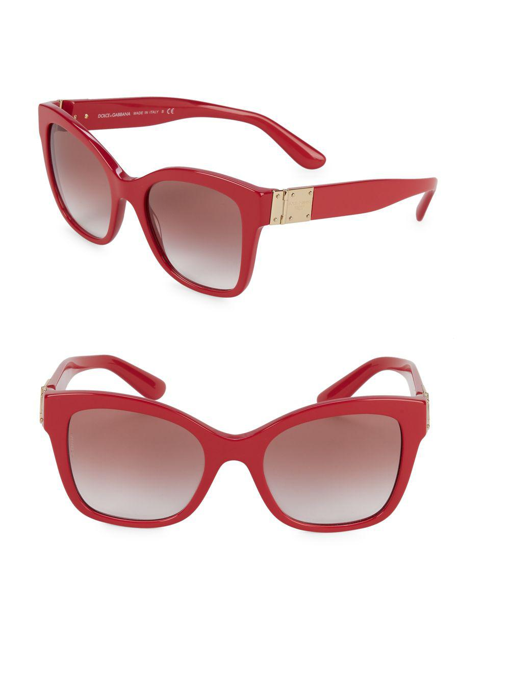 0207da46b26 Dolce   Gabbana Dg4309 53mm Squared Cateye Sunglasses in Red - Lyst
