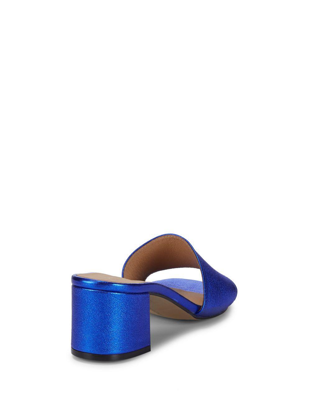 f7bd41985196 Saks Fifth Avenue - Blue Metallic Block Heel Leather Sandals - Lyst. View  fullscreen