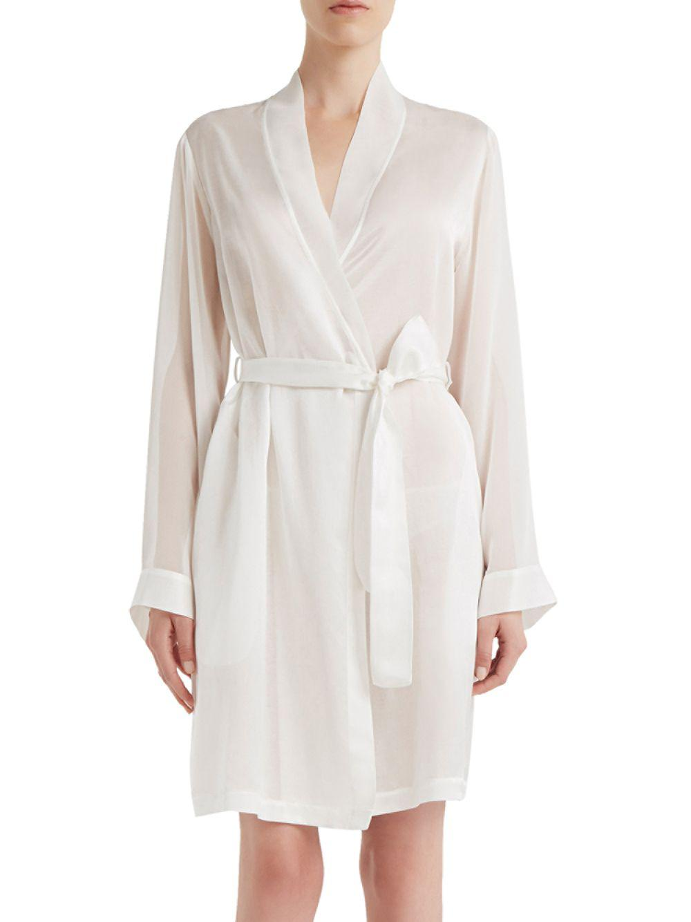 La Perla Jazz Time Cotton   Silk Short Night Robe in White - Lyst a844c0ee0