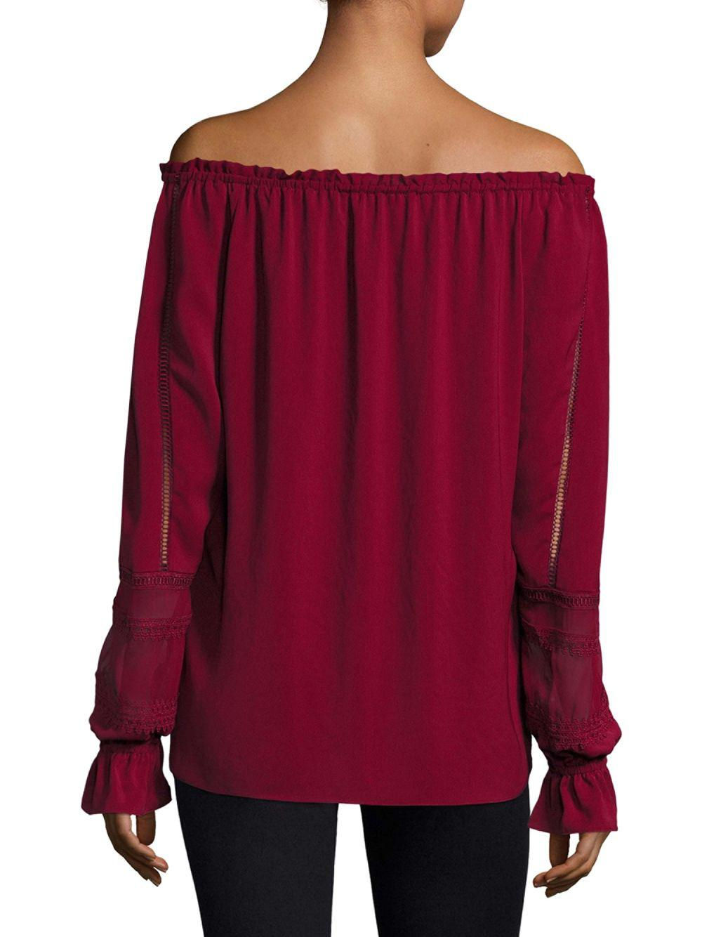 b0d5bae9f4d4a6 Ramy Brook Thea Off-the-shoulder Sueded Tech Top in Red - Save 41% - Lyst