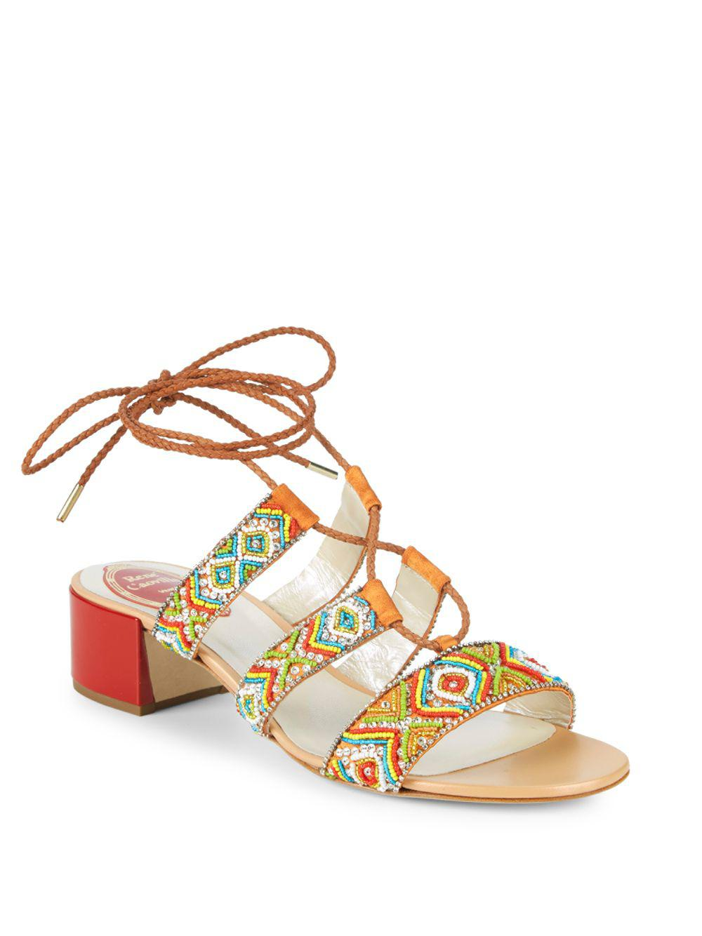 a1f1a3bb2f7 Rene Caovilla. Women s Embellished Ankle-strap Leather Sandals