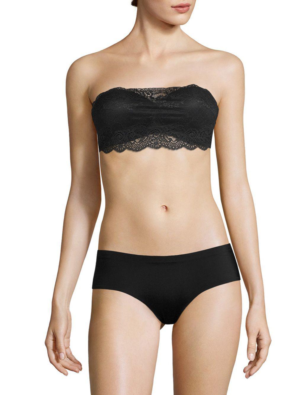 608670e306b11 Lyst - Cosabella Thea Bandeau Lace Bra in Black