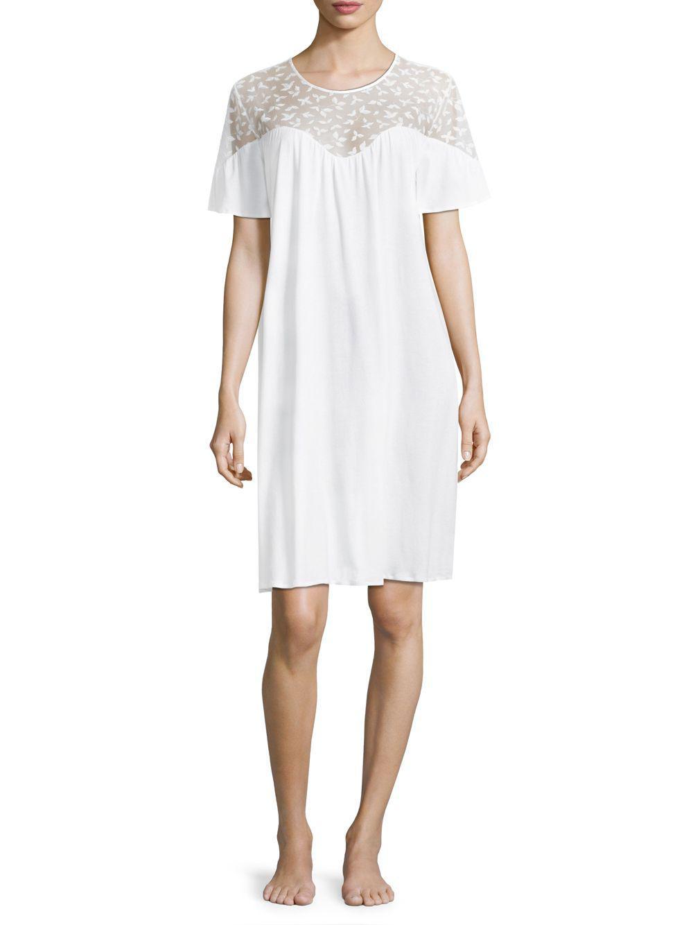 8edc14c3b1 Lyst - Hanro Iris Short-sleeve Cotton Nightgown in White - Save 13%