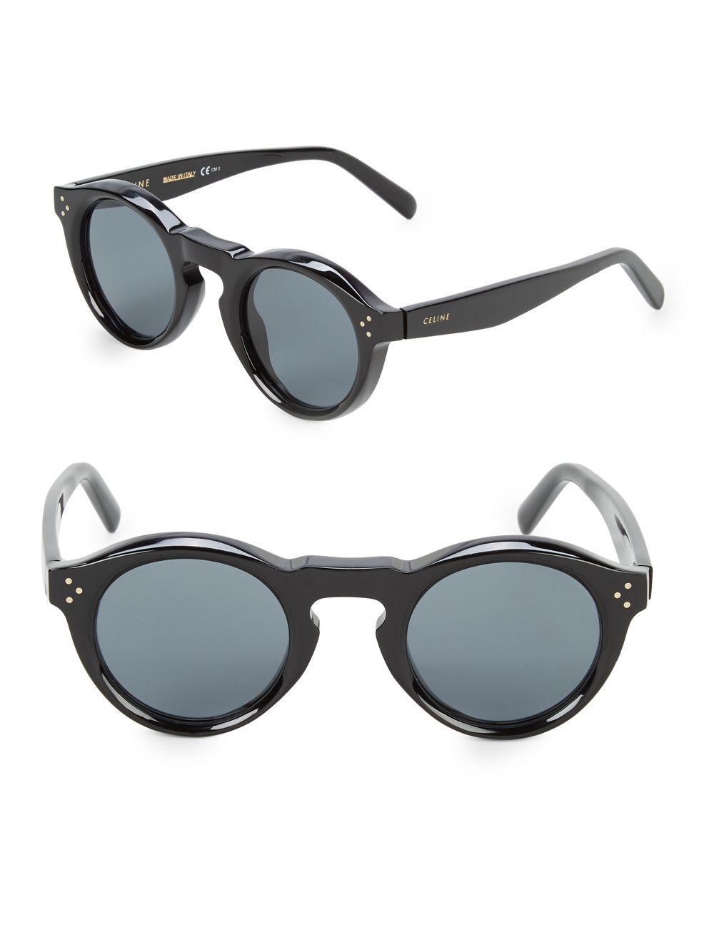 9f92d4374d6 Lyst - Céline 45mm Professor Round Sunglasses in Black