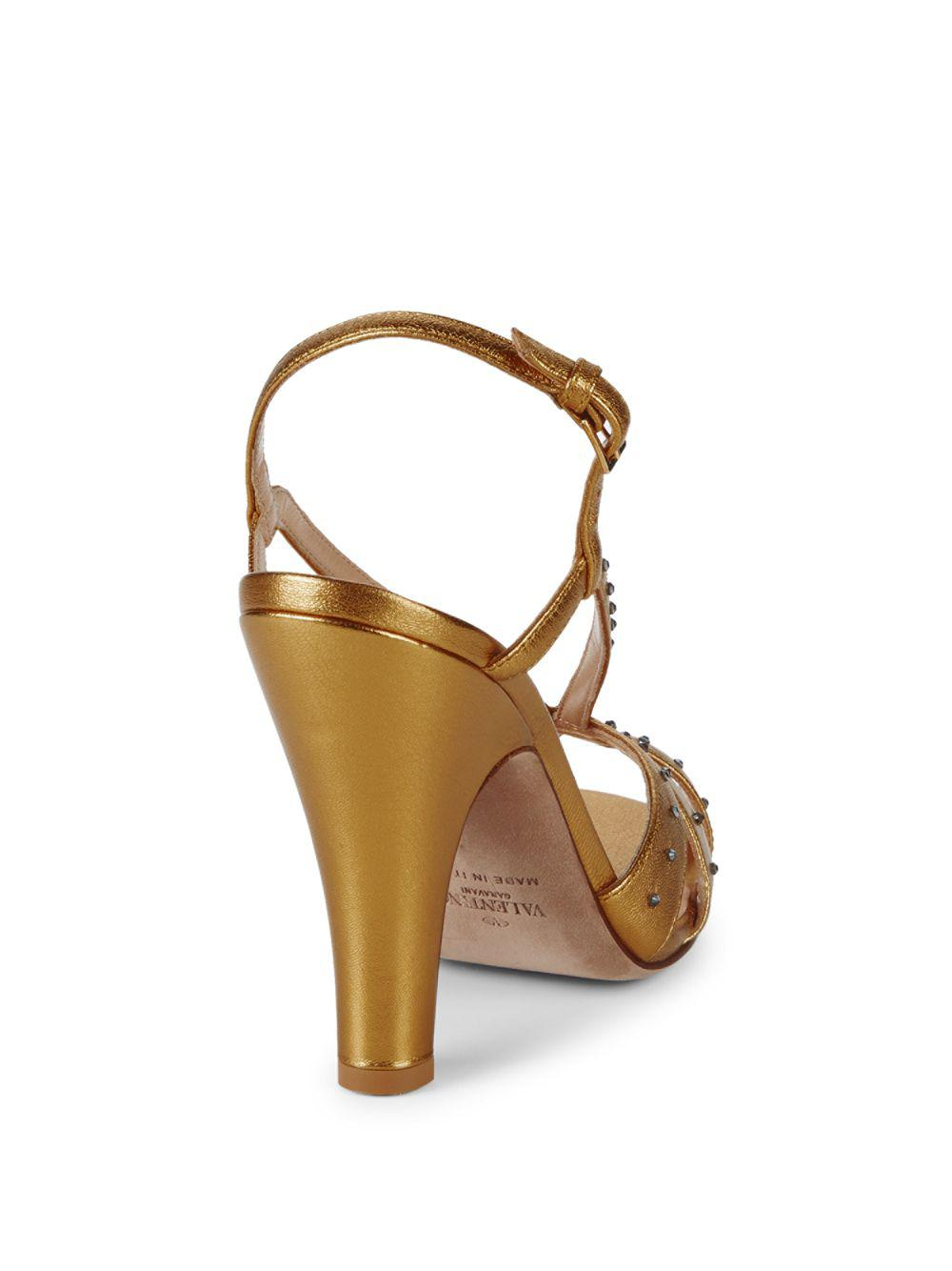 b6f72dff9db Valentino - Embellished Metallic Leather Sandals - Lyst. View fullscreen