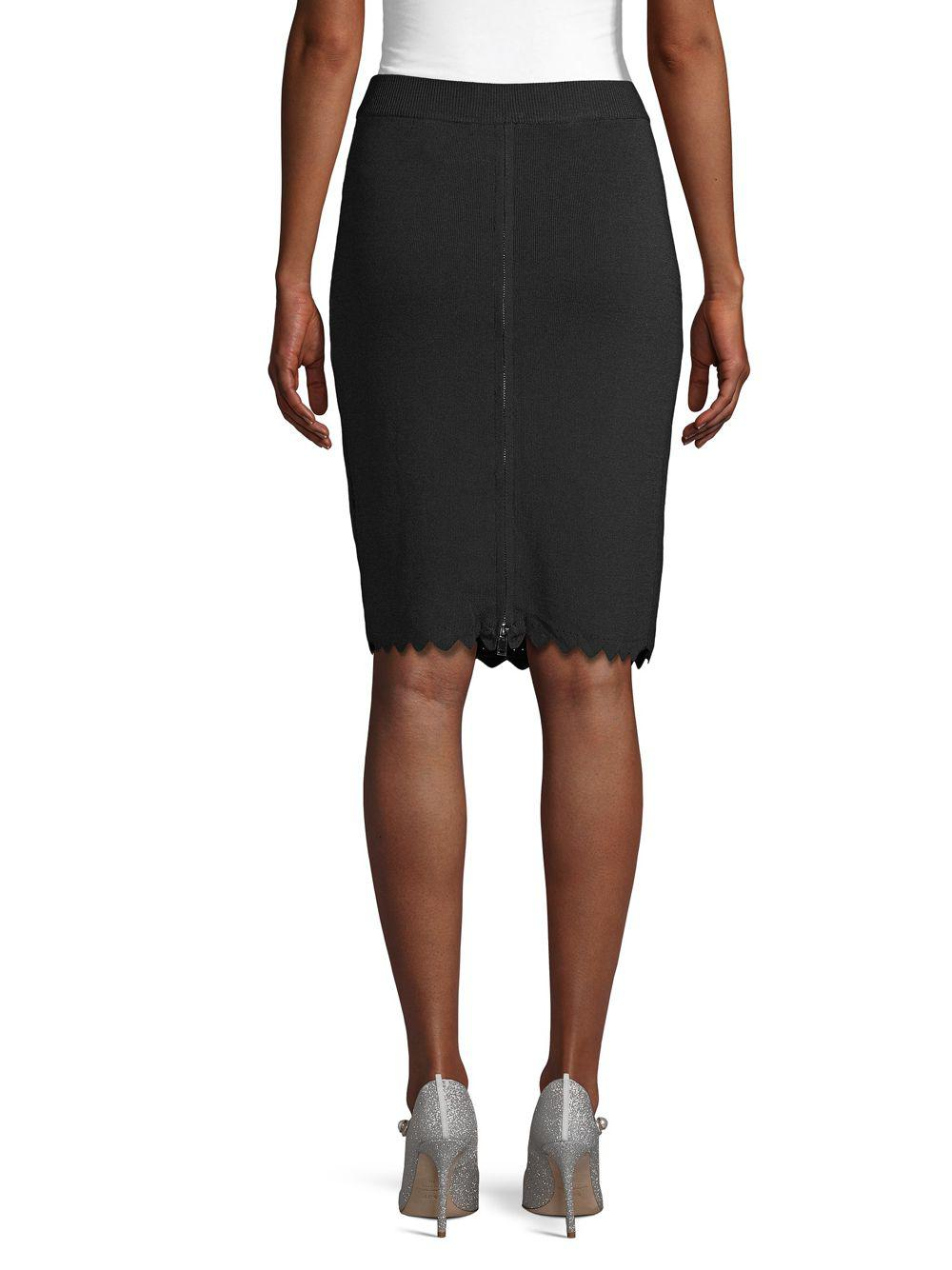 d371404f34 Catherine Malandrino Scalloped Pencil Skirt in Black - Lyst