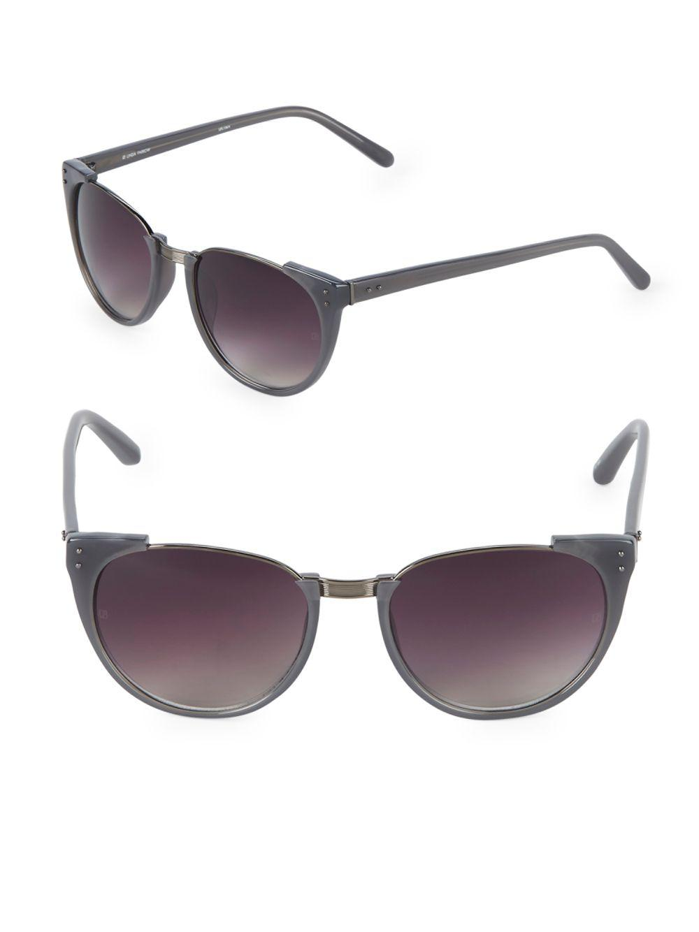 b6f826179c4 Linda Farrow 54mm Cat-eye Sunglasses in Metallic - Lyst